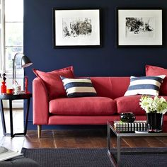 View our stylish living room ideas, like this navy and coral colour scheme