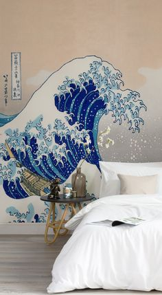 "Dreamy neutrals work in harmony with Hokusai's ""Great Wave."" This art wallpaper showcases the world famous woodblock print by Japanese artist Hokusai. The clean lines of this wallpaper add definition and bring impact to your interiors."