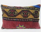 16x24 accent boho ethnic pillow cover kilim Turkish floor Lumbar cushion outdoor sofa pillow bohemian rug pillow case throw decorative 26970