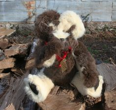 This 14 inch Stearnsy Bear is made from 2 pieces of vintage rabbit fur coats...$165