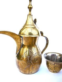 Brass Etched Coffee Pot and Demitasse Cups by worldvintage on Etsy