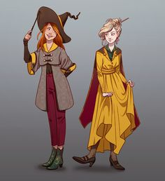 I always liked to think that wizard fashion was sort of stuck in a weird mix of times. So here's some magical girlfriends in robes.