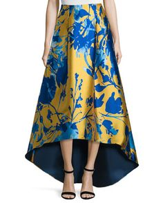 Floral Jacquard High-Low Skirt, Citrine   by Sachin & Babi Noir at Neiman Marcus.