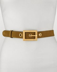 Gucci Non G-Adjustable Suede Belt, Olive - Bergdorf Goodman
