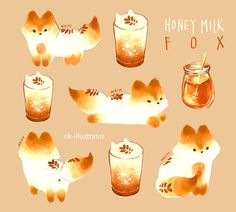 Thai Tea, Matcha, Vanilla Chai Tea, Honey Milk and Milk Tea Foxes  GIF Doodles     ©  2016 Nadia Kim       Thai Tea Fox                    ...