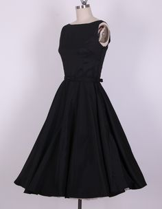 "50s ""Audrey Hepburn"" Style Black Dress"