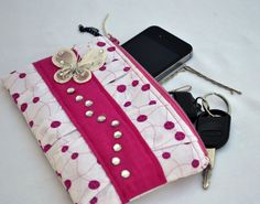 Pink and white pleated Clutch Purse zippered by ValkinThreads, $28.00