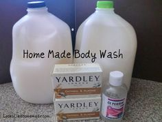 Make your own body wash: 4 simple ingredients and 5 basic steps  Bar Soap, approximately 2 bars - but it needs to add up to 8 oz of soap  2 Tbsp Glycerin  2 Gallons of Water  Containers for Storage