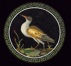 A first half of 19th century Roman micro mosaic circular Plaque  depicting a wading bird on black background, within an elaborate Greek key border, the plaque mounted on copper,7.5cm diameter