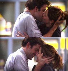 Jim and Pam! <3 When he asks her to marry him at the gas station in the rain!!