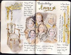 by Threadspider (Judith) ... a journal page on a continuing theme of the Rococo period in England