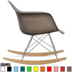 2xhome - Grey / Taupe - Eames Style Molded Modern Plastic...