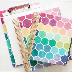 When matchy-matchy is oh-so-right! 💗 The hexagon design theme from erincondren💗 Planner Organization, Organizing, Hexagons, Journal Covers, Erin Condren, Life Planner, Note Cards, Stationery, Dots