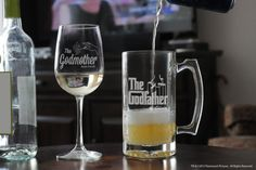 Mixed set Godparent tall Wine Glass & Large Glass Stein, Will you be my Godmother or Godfather Gift, Custom Baptism Gifts for Godparents