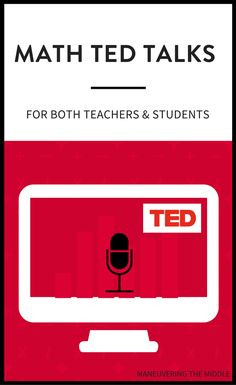 Math Ted Talks for Teachers and Students TED Talks can be a helpful tool to strengthen your teaching practices. I've complied a list of my favorite math TED Talks for teachers and students. Math Teacher, Math Classroom, Teaching Math, Maths, Teacher Stuff, Classroom Ideas, Teaching Ideas, Math Fractions, Classroom Tools