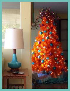 Christmas Tree. (orange, aqua, Christmas, Holiday, decor, decorations, ornaments, mcm, midcentury, interior, retro)
