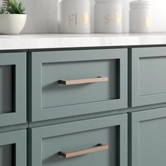 Top Knobs Nouveau III 5 Center to Center Bar Pull Finish: Brushed Bronze Green Kitchen Cabinets, Kitchen Cabinet Hardware, Kitchen Cabinet Colors, Cabinet Decor, Kitchen Hardware Trends, Hardware For Cabinets, Repainted Kitchen Cabinets, Diy Cabinet Refacing, Cabinet Door Makeover