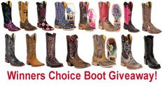 Win your choice of any boot we sell. Ends Jan 31, 2016. You may enter once each day. (up to $325 in value) We Love our Fans!