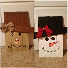 Pallet art - scarecrow one side, snowman on the other!