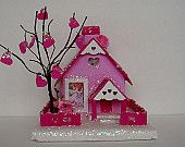 "Eclectic Vintage Collectables and Hand Made Goods by PapyrusHeart Vintage Inspired Valentines Day Putz Style Village House "" Cupids Love Shack "" Valentines Day Decorations, Valentine Day Crafts, Vintage Valentines, Be My Valentine, Holiday Crafts, Holiday Decor, Putz Houses, Gingerbread Houses, Tiny Houses"