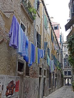 Venice Alley With Clothes Hanging Outdoors Photograph