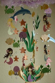 Mermaid Sea Creature Ocean themed baby mobile by magicalwhimsy, $85.00