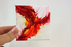Original Miniature Acrylic Painting, Red Abstract,  OOAK canvas with easel
