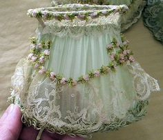 Shabby Chic...Dreamy Set 4 Vintage Shabby French Boudoir Lampshades 1920s Lace Ribbon