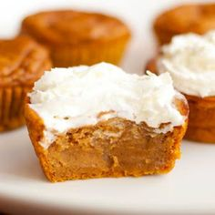 Pumpkin Pie Cupcakes. I just made these and they are delicious! They taste just like pumpkin pie. I used greek yogurt instead of the evaporated milk. Next time I will use only 1/2 of the granulated sugar amount and increase the pumpkin pie spice a little.