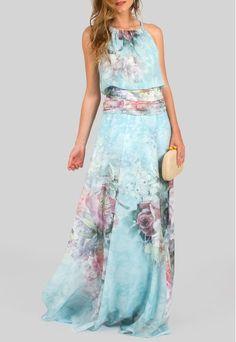 vestido-irlanda-longo-floral-acetinado-powerlook-azul Bridesmaid Dresses, Prom Dresses, Dressy Dresses, Sweet Dress, African Wear, Floral Maxi Dress, Formal Wear, Tie Dye Skirt, Dress To Impress