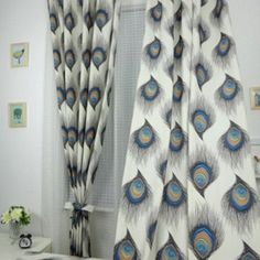 Peacock Feather Custom Printed Curtains by NECRCustomPrint on Etsy