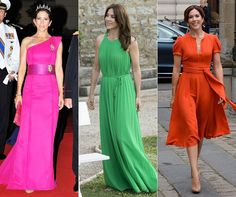 Turning heads: Mary isn't afraid of colour, wearing a shocking pink gown for the Royal Wedding in Monaco in 2011 (left), an emerald maxi for a photocall in France in 2014 (centre), and a cheery orange dress for a museum visit in 2012