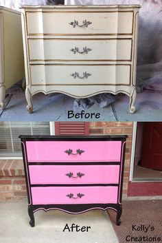 Hot Pink And Black French Provincial Dresser Before And After Pictures Refinished By Kelly S Creations