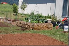 Backwoods Cottage: Straw bale garden bed and poor mans raised beds.
