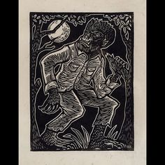The Wolfman #linocut #printmaking #wolfman #universal #movie #monsters #werewolf #attacktheplanet