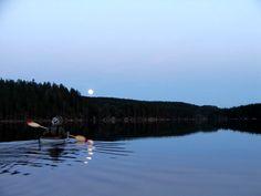 kayaking in the moonlight, Nordmarka, Oslo