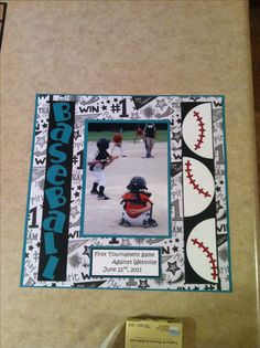baseball scrapbook pages - Yahoo Image Search Results Scrapbook Sketches, Scrapbook Page Layouts, Scrapbook Supplies, Scrapbook Cards, Scrapbooking Ideas, Baseball Scrapbook, Recipe Scrapbook, Sports Page, Creative Memories