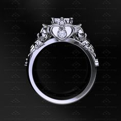 Moissanite Sailor Moon engagement ring in sterling silver with white accent stones, size 9 or 9.25... OMG, YES PLEASE.