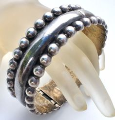 Taxco Round Bangle Bracelet Sterling Silver Hinged Beaded Edge Vintage Jewelry   Jewelry & Watches, Vintage & Antique Jewelry, Vintage Ethnic/Regional/Tribal   eBay!