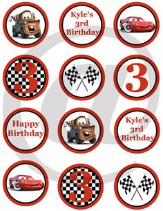 Personalized Disney CARS Cupcake toppersfavor by BirthdayPartyDIY, $5.00