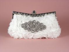 White Wedding Clutch, Vintage Style with Crystal Rhinestone Brooch. $72.00, via Etsy.