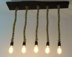 Corda lampadario legno recuperato 5 ciondolo gabbia luce illuminazione industriale rustico Vintage Edison
