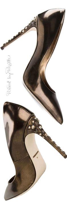 Dolce & Gabbana ~ Gunmetal Metallic Crystal Stud Heel Pumps