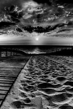 Beach photography photo in black and white