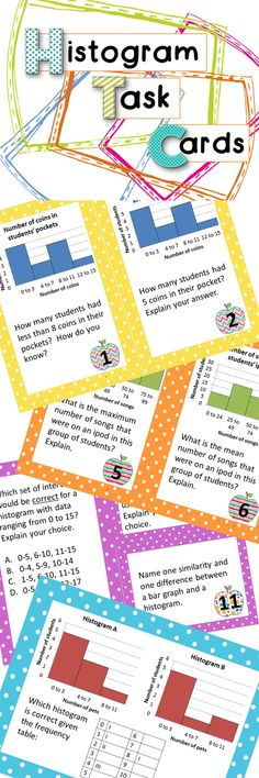 Get your histograms! 18 task cards for all the practice you could ever need reading, interpreting and creating histograms.