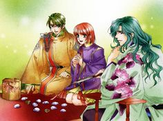 Anime with characters dressed in heian inspired kimono