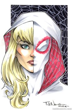 Spider-Gwen. Sketch prize choice of the winner of my WonderCon Anaheim 2015 Sketch Retweet Contest on Twitter. My next Sketch Retweet Contest runs during MotorCity Comic Con, May 15-17, 2015. Rules/info: http://toddnauck.com/?p=2249