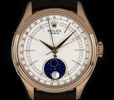 Rolex Unworn Cellini Moonphase Gents Rose Gold White Dial B&P 50535 Rolex Cellini, Swing Tags, Moon Phases, 18k Rose Gold, Brown Leather, Sapphire, Clock, Accessories, Watch
