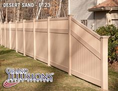 V3701-6 Tongue and Groove PVC Privacy Fence with Framed Victorian Topper in Grand Illusions Color Spectrum Desert Sand (E123) with sloping end panel.