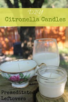 Easy DIY Citronella Candle Tutorial - How to make Citronella candles - Recipe and instructions for making citronella candles in mason jars or tea cups.